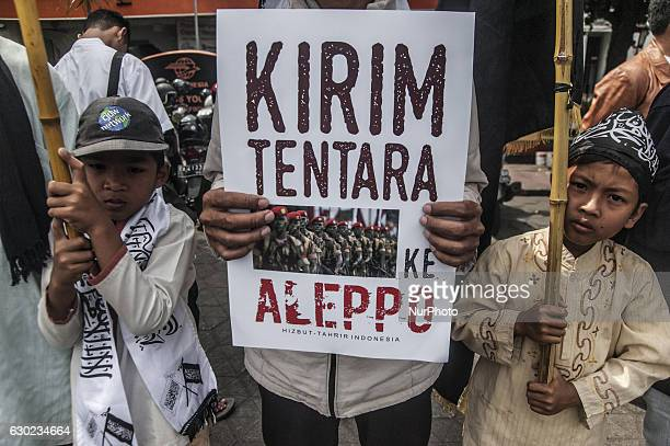 Indonesian Muslims do Symphatetic Action for Aleppo ini Yogyakarta Indonesia on December 19 2016 Muslims in Indonesia ask to the government to help...