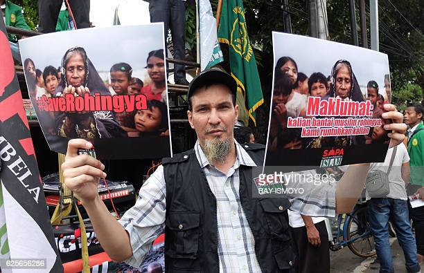 Indonesian Muslims hold a rally outside of Myanmar embassy against ethnic cleansing in Mynamar of Rohingya Muslims in Jakarta on November 25 2016...