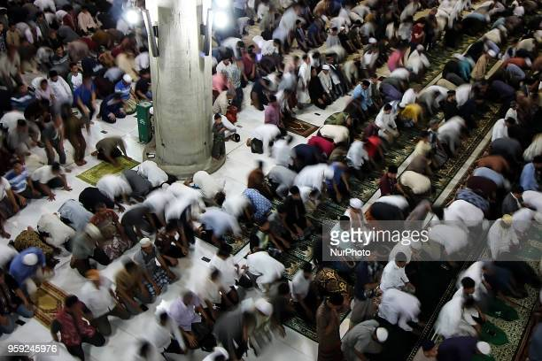 Indonesian Muslims perform the 'tarawih' prayer marking the first eve of Islam's holy month Ramadan at Islamic Center mosque in Lhokseumawe Aceh...