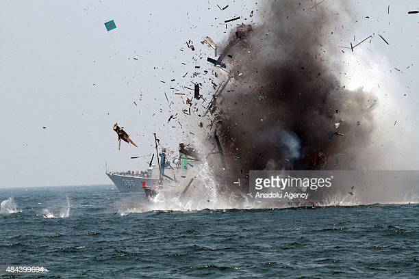 Indonesian Navy burn a foreign fishing vessel caught fishing illegally at Lemukutan island on August 18 2015 in Pontianak West Kalimantan Indonesia...