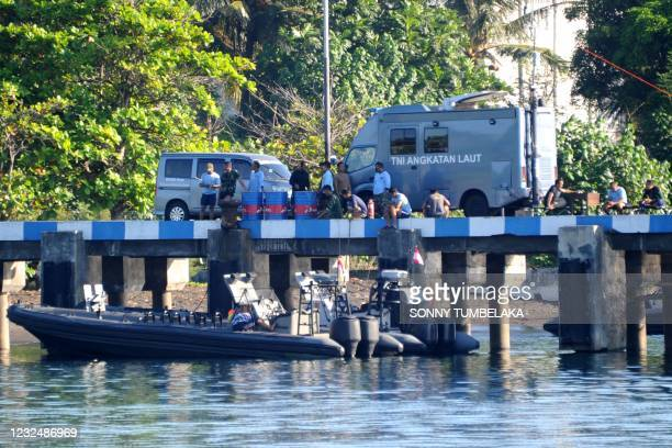 Indonesian Navy personnel are seen at the naval base in Banyuwangi, East Java province, on April 24 as the military continues search operations off...