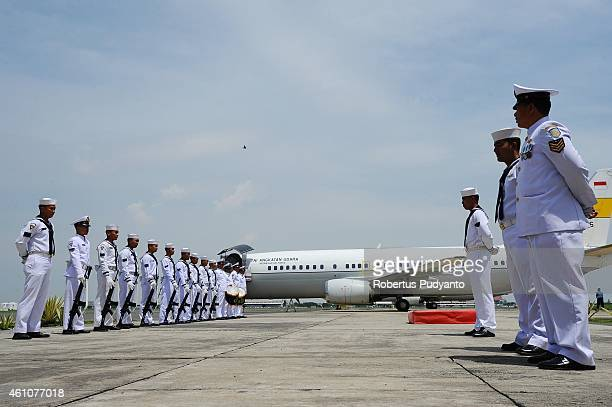 Indonesian Navy personnels line up as they prepare to welcome the arrival of Indonesian Military Commander Moeldoko who will inspect the possible...