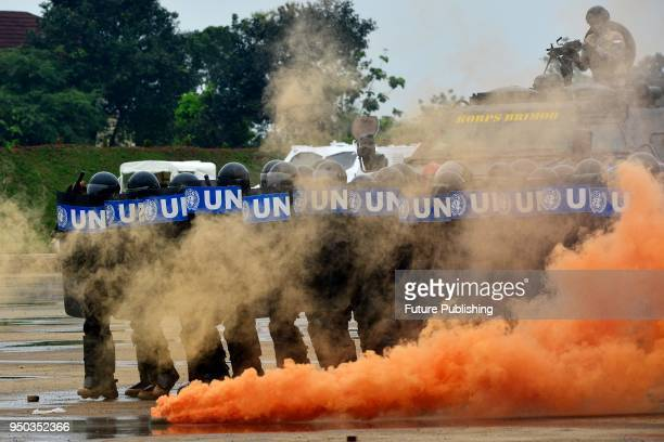 Indonesian peacekeeping support troops at United Nation's police unit during a training exercise at the multi-functional training center Polri, in...