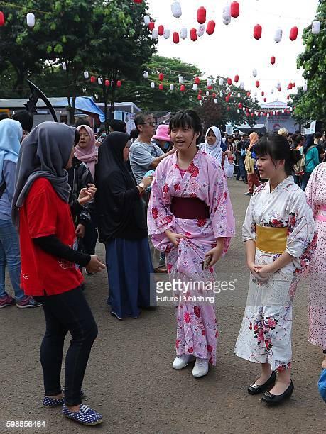 Indonesian people wear Happi or Matsuri festival costume during JakJapan Matsuri Festival on September 03 2016 in Jakarta Indonesia JakJapan Matsuri...