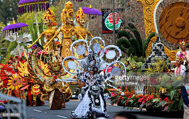 Indonesian performers march down Colorado Drive in front of their float during the 124th Annual Tournament of Roses on Monday January 1 2013 in...