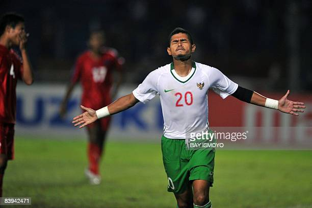 Indonesian player Bambang Pamungkas celebrates his goal during the AFF Suzuki Cup football match against Cambodia in Jakarta on December 7 2008...