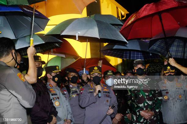 Indonesian Police Chief, General Listyo Sigit Prabowo accompanied with TNI Commander, Marshal Hadi Tjahjanto speaks to media after visiting the site...