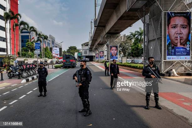 Indonesian police guard the site of an ASEAN emergency meeting on Myanmar on April 24, 2021 in Jakarta, Indonesia. The leaders of Myanmar's...
