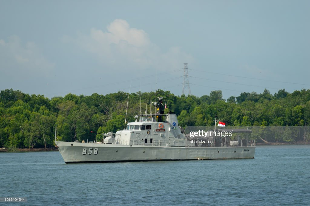 Indonesian police marine boat perform a friendly surveillance at Port Klang, Malaysia : Stock Photo
