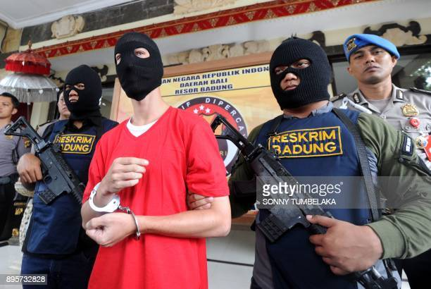 Indonesian police present US prisoner Christian Beasley to the press at a police station in Badung regency on Indonesia's resort island of Bali The...