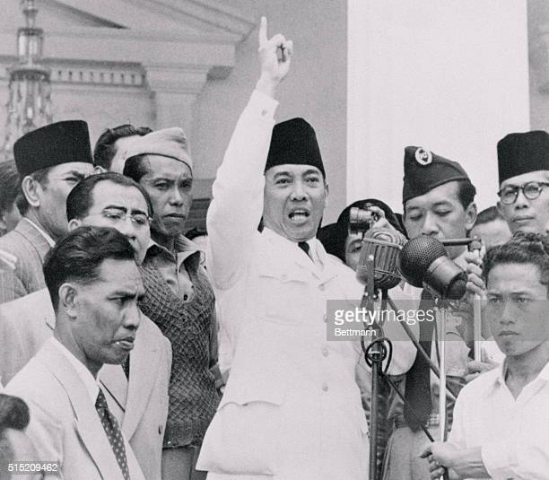 Indonesian President Achmad Sukarno shown here speaking to a crowd in September of 1950 was reported trying to calm thousands of angry demonstrators...