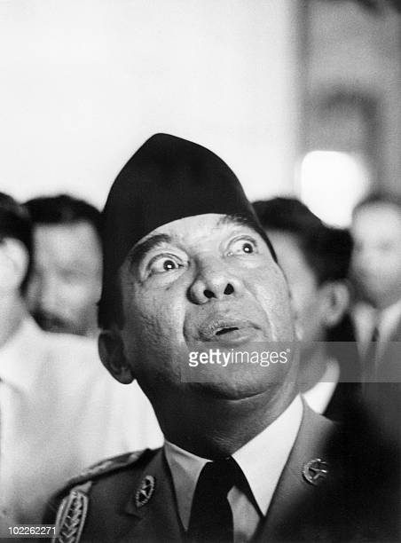 Indonesian President Achmed Sukarno looks up at the sky in an undated and unlocated photo Sukarno was Indonesia's first president when Indonesia was...
