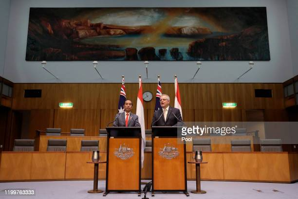Indonesian President Joko Widodo and Australias Prime Minister Scott Morrison give a joint statement at Parliament House on February 10, 2020 in...