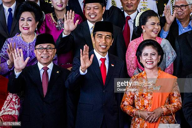 Indonesian President Joko Widodo and First Lady Iriana and wife pose for photo after the inauguration ceremony for President Joko Widodo at the House...