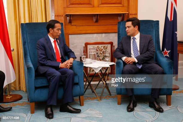 Indonesian President Joko Widodo and National Party Leader Simon Bridges attend their meeting on March 19, 2018 in Wellington, New Zealand. President...