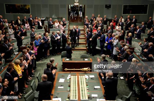 Indonesian President Joko Widodo arrives to address the House of Representatives at Parliament House on February 10, 2020 in Canberra, Australia....