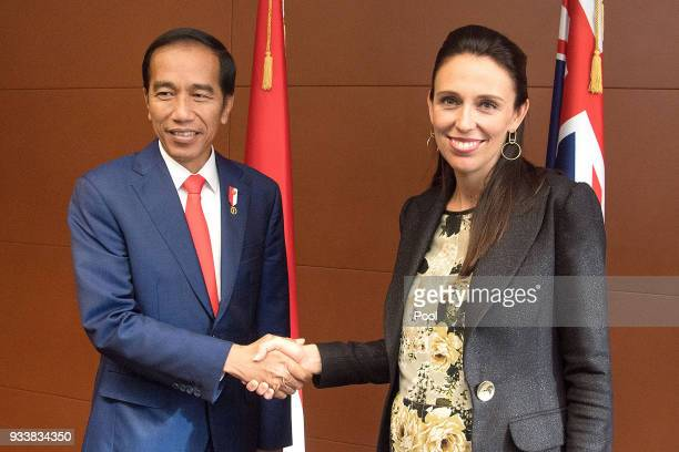 Indonesian President Joko Widodo meets with Prime Minister of New Zealand Jacinda Ardern during a Bilateral meeting at Parliament on March 19 2018 in...