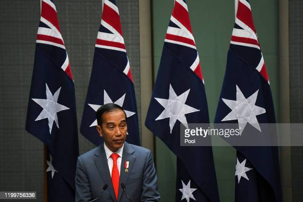 Indonesian President Joko Widodo speaks during his address to the the Australian Parliament in the House of Representatives at Parliament House on...
