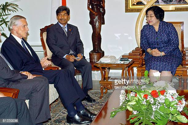 Indonesian President Megawati Sukarnoputri holds talks with Dutch Foreign Affairs Minister Bernard Rudolf Bot at the Presidential palace in Jakarta...