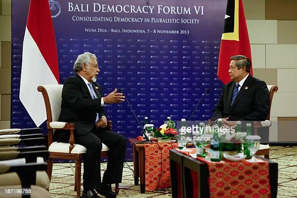 Indonesian President Soesilo Bambang Yudoyono talks with Timor Leste Prime Minister Xanana Gusmao during Bali Democracy Forum on November 7 2013 in...