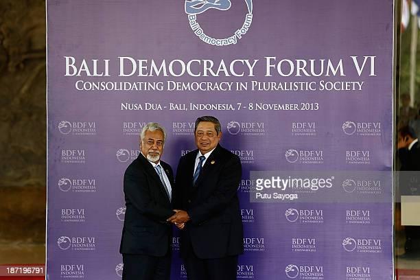 Indonesian President Susilo Bambang Yudhoyono greets Timor Leste Prime Minister Xanana Gusmao during Bali Democracy Forum on November 7 2013 in...