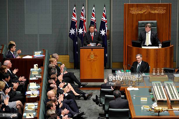 Indonesian President Susilo Bambang Yudhoyono is congratulated on his address by members and senators of the Australian Government after his address...