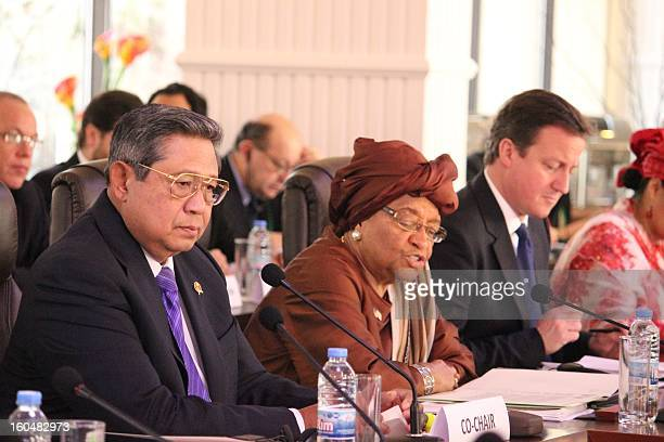 Indonesian President Susilo Bambang Yudhoyono Liberian president Ellen Johnson Sirleaf and British Prime Minister David Cameron cochair a highlevel...