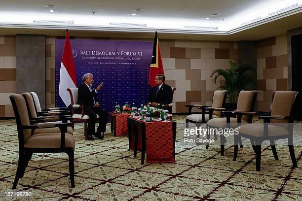 Indonesian President Susilo Bambang Yudhoyono talks with Timor Leste Prime Minister Xanana Gusmao during Bali Democracy Forum on November 7 2013 in...