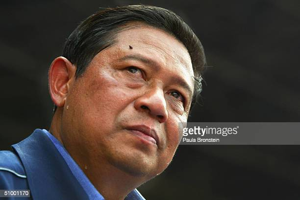 Indonesian presidential candidate and former chief security minister Susilo Bambang Yudhoyono during his campaign rally in Jakarta on June 27 2004...