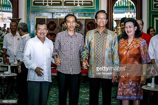 Indonesian Presidential candidate Joko Widodo and his running mate, Jusuf Kalla , during meets with Sultan Of Yogyakarta Hamengkubuwo X at Kraton...