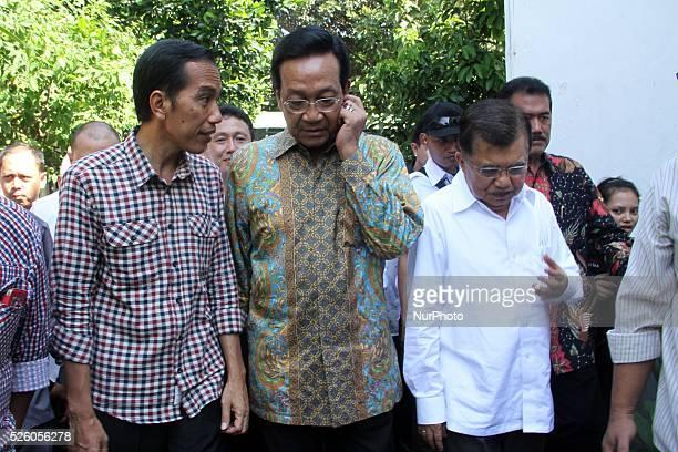 Indonesian Presidential candidate Joko Widodo and his running mate, Jusuf Kalla ), during meets with Sultan Of Yogyakarta Hamengkubuwo X at Kraton...