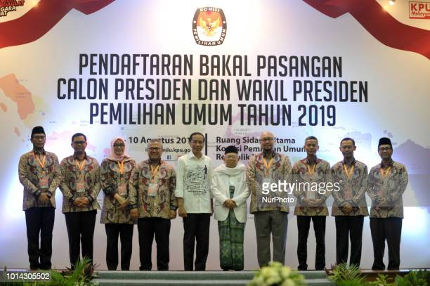 Indonesian Presidential candidate Joko Widodo with his deputy candidate KH Ma'ruf Amin as they register for the 2019 presidential election at the...