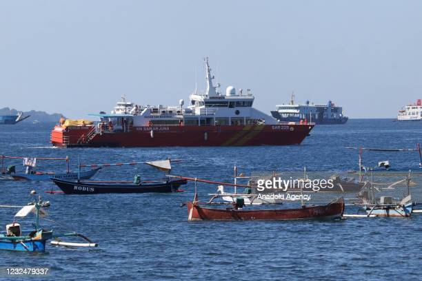 Indonesian SAR Agency vessel arrive at pier Tanjung Wangi for the search operation of submarine KRI Nanggala 402 which was missing in the waters off...