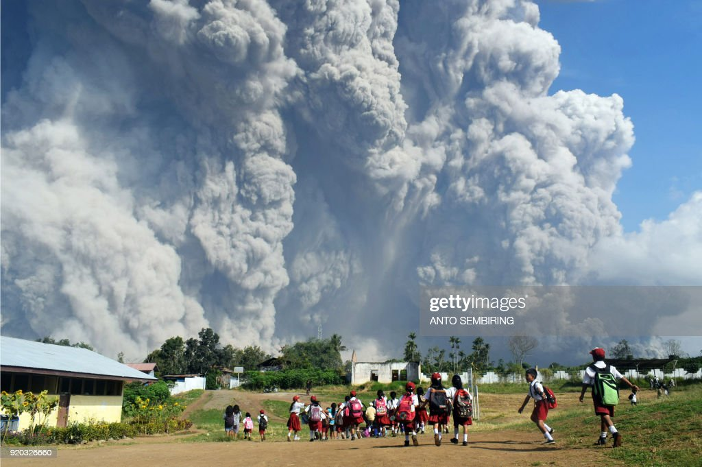 Eruption of Mount Sinabung volcano in North Sumatra