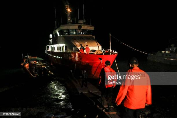 Indonesian Search and Rescue team prepares to depart using SAR ship for search mission of missing Indonesian navy submarine at Benoa Port in...