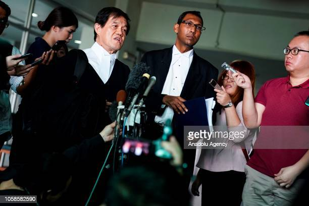 Indonesian Siti Aisyah's and Vietnamese Doan Thi Huong's lawyers talk to media after a court session for their management case at the Shah Alam High...