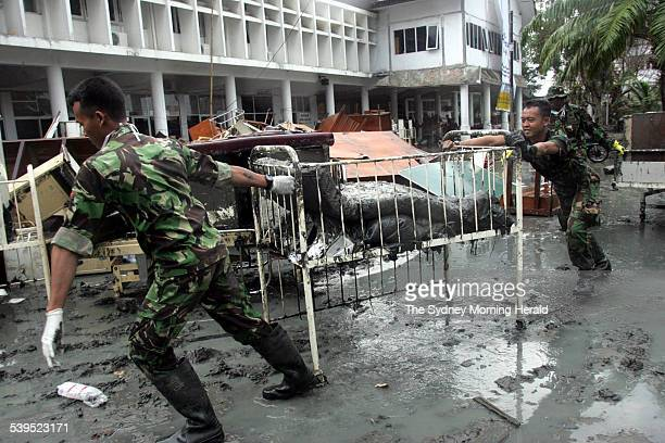 Indonesian soldiers clean up the Zaenal Abidin Hospital in Banda Aceh in Indonesia after the devastation of the tsunami on Saturday 8 January 2005...
