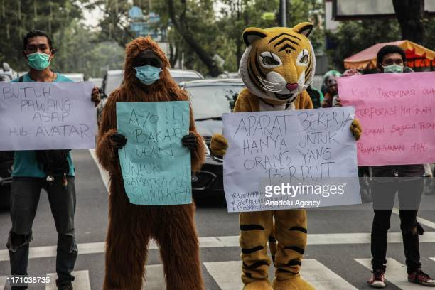 Indonesian students hold banners as they march with animal costumes during a protest against climate damage in Medan North Sumatra Indonesia on...