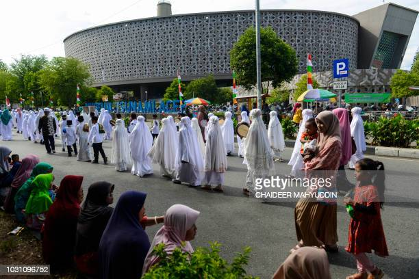 Indonesian students parade marking the Islamic new year in Banda Aceh on September 11 2018