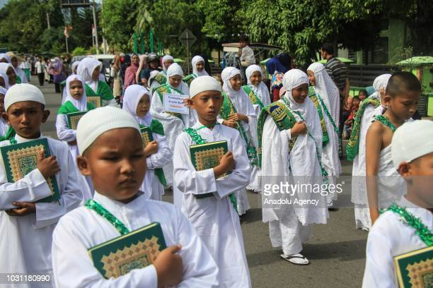Indonesian students take part in the 1 Muharram 1440 Hijriah parade in Banda Aceh of Aceh Province Indonesia on September 11 2018 The Parade aims to...