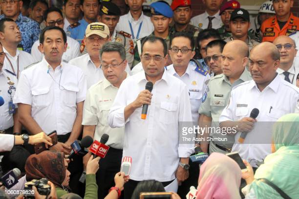 Indonesian Transport Minister Budi Karya Sumadi speaks as the Indonesian low cost carrier Lion Air flight JT 610 crashed off Jakarta after taking off...