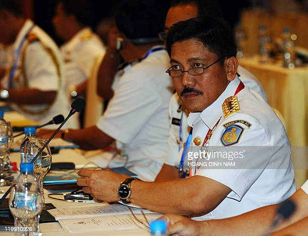 Indonesian Vice Admiral Marsetio Vice Chief of Staff of Indonesian Navy attends the 5th ASEAN Navy Chiefs' meeting in Hanoi on July 27 2011 The...