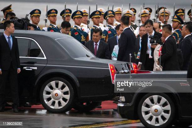 APRIl 24: Indonesian Vice President Jusuf Kalla arrives on a plane at the special plane terminal of the Beijing International airport ahead of the...