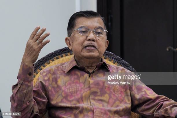 Indonesian Vice President Muhammad Jusuf Kalla speaks during an interview with Anadolu Agency at the Vice Presidential Office in Jakarta, Indonesia...