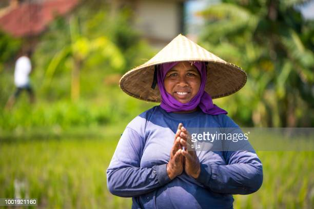 Indonesian woman on the rice field