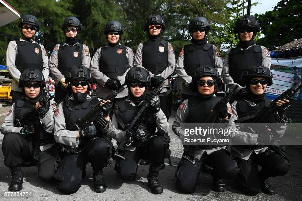 Indonesian Woman Police Officers on duty during stage 6 of the Tour de Singkarak 2017 Pariaman CityPasaman Barat 1457 km on November 23 2017 in...