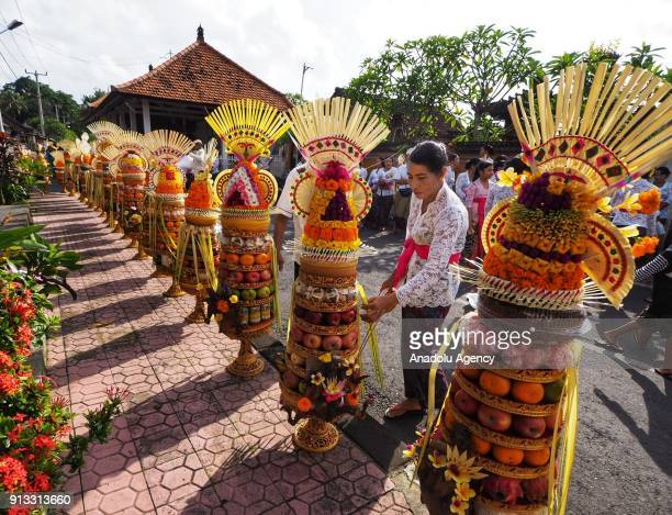 Indonesian women carry fruit and chicken as ritual offerings during Odalan ceremony at Pura Dalem Bitra Gianyar in Bali Indonesia on February 2 2018...
