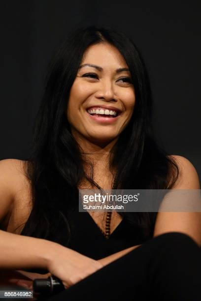 Indonesianborn recording artist Anggun one of the three judges from Asia's Got Talent Season 2 attends a dialogue session at the ArtScience Museum on...