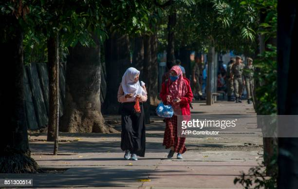 Indonesians walk on a shady sidewalk before a group of activists hugged the trees in Jakarta on September 22 as part of their protest against the...