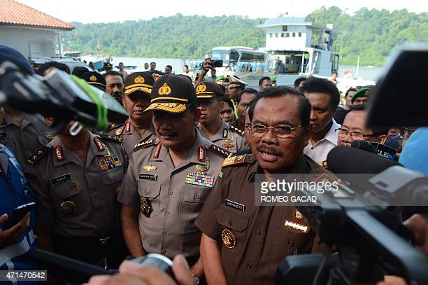 Indonesia's AttorneyGeneral Muhammad Prasetyo and Police Chief General Badrodin Haidi speak to the press at Nusakambangan port in Cilacap after an...